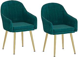 ZHJQTIE Terciopelo sillas de Comedor, de Terciopelo Ocio Silla tapizada Moderna con Las piernas del Metal Asiento Rosa y Verde Salón Cocina Sillas sillas de Comedor Juego de 2 (Color : Green)