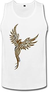 Cute Soul メンズ タンクトップ フィネックスタトゥー 鳳凰の入れ墨 不死鳥 神の羽根 ☆二重縫い加工 カットソー アメカジの王道 ?