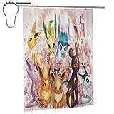 Rideau de douche Pokémon avec 12 crochets aquarelle, rideau de bain...