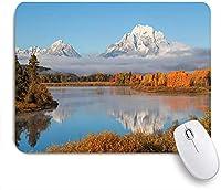 KAPANOU マウスパッド、グランドティトンオックスボーベンド自然国立公園ワイオミング風景の秋の美しさ おしゃれ 耐久性が良い 滑り止めゴム底 ゲーミングなど適用 マウス 用ノートブックコンピュータマウスマット
