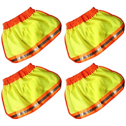 Milisten Protector Solar de Casco de 4 Piezas Sombrilla de Cuello de Malla de ala Completa con Tiras Reflectantes de Alta Visibilidad Transpirable para Casco de Seguridad sin Gorra de Casco
