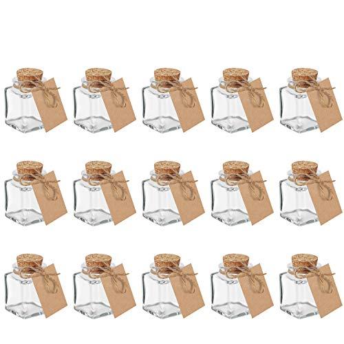 Belle Vous Mini Gewürzgläser mit Korken (15 Stk) - 45ml Korkengläser Gläser Eckig Glasflaschen mit Schnur und Etikett – Ideal für Gastgeschenke, Hochzeit, Deko, Gewürze, Kräuter, Kosmetik Aufbewahrung