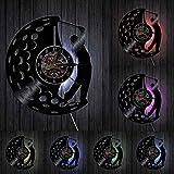 Play Golf Club Retro Disco de Vinilo Reloj de Pared LED Reloj de Pared Aficionado al Golf Reloj de decoración Deportiva con LED