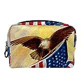 Bolsa Maquillaje Almacenamiento organización Artículos tocador cosméticos Estuche portátil celebrando la Vieja Gloria Nuestra Bandera Americana ilustración Vintage para Viajes Aire Libre