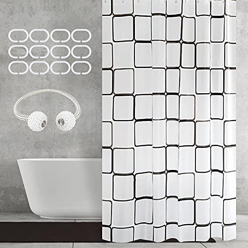 Duschvorhang 180x200, Shower Curtains Duschvorhänge Anti-Schimmel Badevorhang - Wasserdichter Badezimmervorhang mit Bandage - C