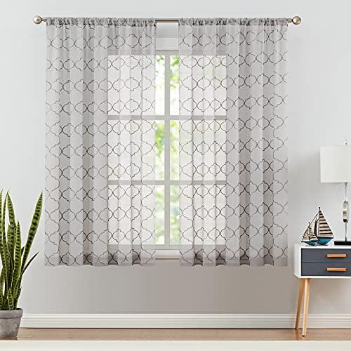 德芙灰色客厅透明窗帘钻石刺绣窗帘卧室杆口袋窗帘1对55 x 63英寸