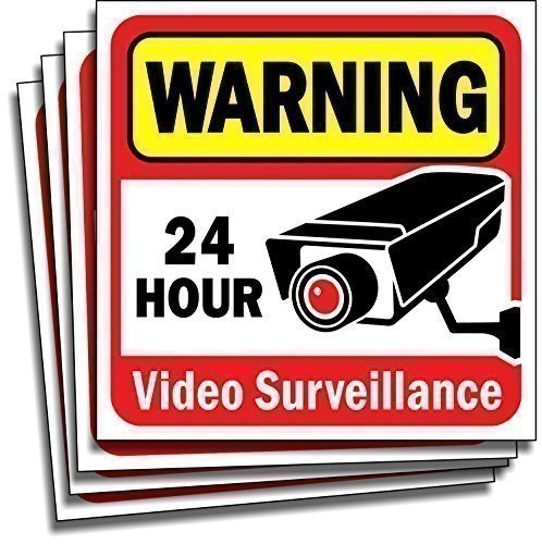Video Security Surveillance Sticker Decals Sign for Home/Business (4 Piece Set) Self Adhesive Vinyl Stickers for CCTV, DVR, Video Camera System-Outdoor/Indoor 6' x 6' for Window Door Wall …