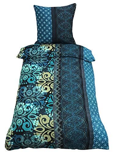 Leonado Vicenti Bettwäsche 155x220 cm grün blau Ornamente mit Reißverschluss