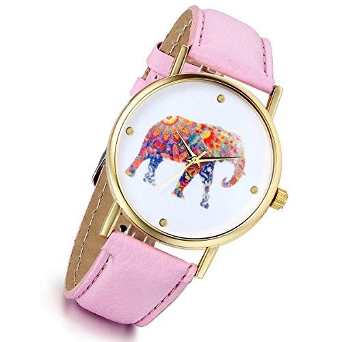 Lancardo Reloj de pulsera vintage para mujer y niña, diseño de elefante, de cuarzo, color rosa