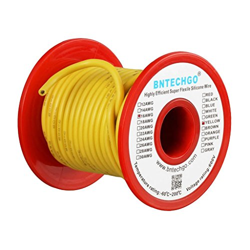 BNTECHGO 16 Gauge Silicone Wire Spool 25 ft Yellow Flexible 16 AWG Stranded Tinned Copper Wire