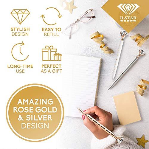 4 Big Diamond Pens Rose Gold & Silver – 4 Black Ink Refills & Cute Velvet Gift Bag, Top Cool School & Bling Office Supplies for Women Girls Coworker, Fancy Crystal Jewel Writing Ballpoint Pen Bulk Set Photo #9