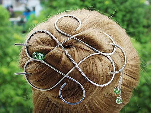 Large Celtic Silver Hair Clip Made with Nickel Silver Wire, Thick Hair