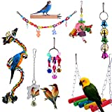 Yorgewd 8 Pack Bird Toys Parrot Toys, Parakeet Parrot Swing Chewing Hanging Toys Bird Cage Toys for Small Parrots, Macaws, Parakeets, Conures, Cockatiel, Budgie and Love Birds