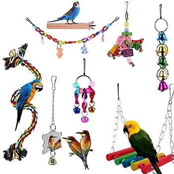 Yorgewd Lot de 8 jouets à mâcher pour perroquet, balançoire, jouets à suspendre pour petits perroquets, aras, perruches, conures, calopsittes, perruches et oiseaux inséparables