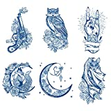 Oottati 6 Sheets Semi Permanent Tattoos Stickers Long Lasts 1-2 Weeks Temporary Tattoo Lace Totem Moon Bat Gun Owl Rock N Roll Finger Squirrel, Realistic Appearance and Natural Fading