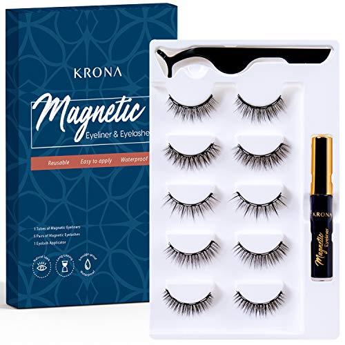 KRONA Magnetic Eyelashes With Eyeliner Kit - Magnetic Eyeliner set - Reusable Falsies With Tweezer - Natural Long Full & Dramatic Looking Eyelashes Set - No More Glue Easy To Wear