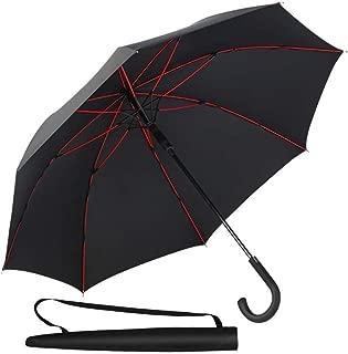 Newdora 長傘 伞二層傘骨構造 210T高強度グラスファイバー 8本骨 130cm 耐風撥水 丈夫 超軽量 大型 自動開けステッキ傘 大きな傘 梅雨対策