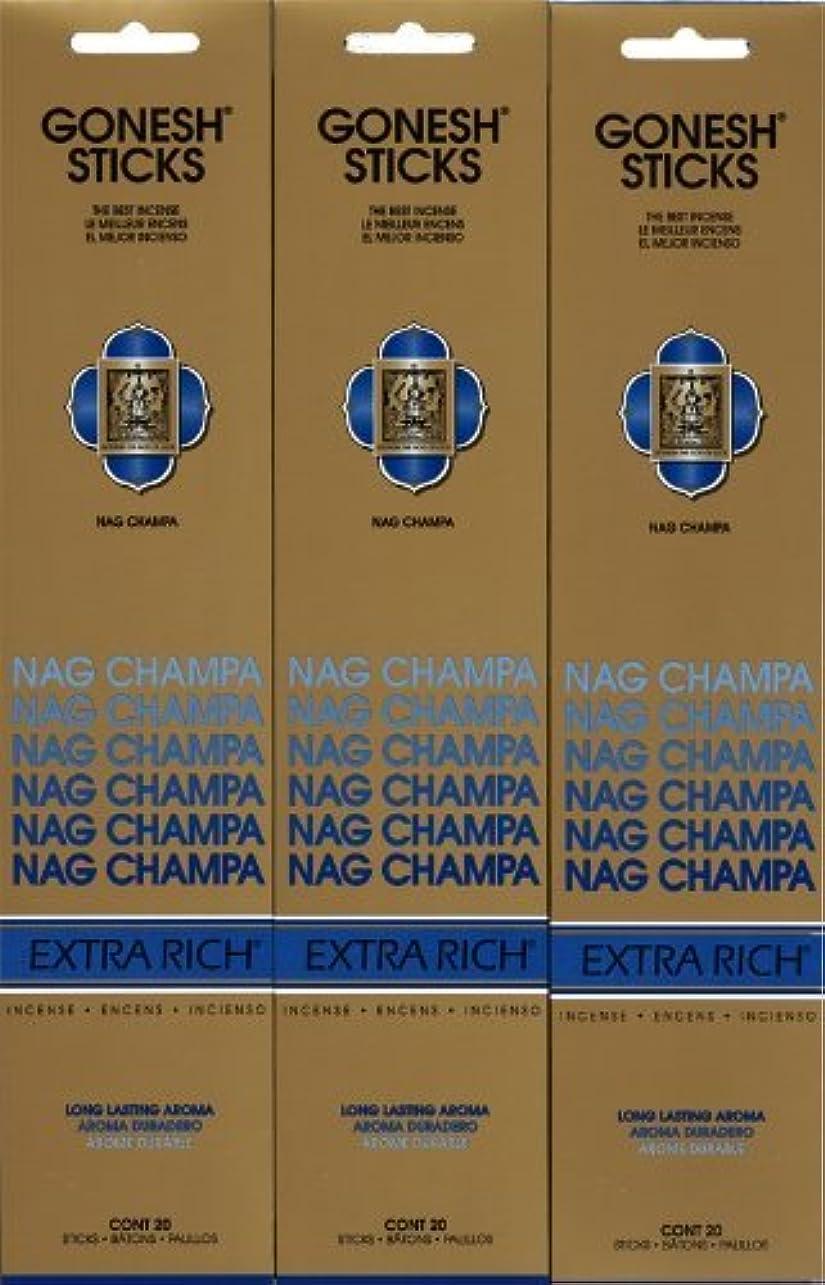 無力仲間、同僚滝GONESH NAG CHAMPA ナグチャンパ スティック 20本入り X 3パック (60本)