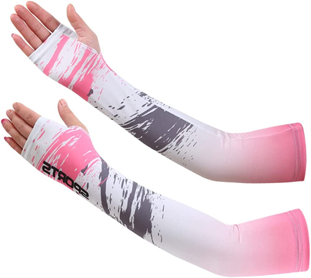 2 Pairs Unisex Ice Silk Sunscreen Outdoor Thin Stretch Riding Gloves (pink)