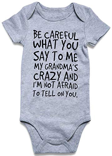 Loveternal Summer Cotton Baby Boys Be Careful What You Say to Me Grandma Clothes 0-3 Months Soft Neutral Onesie Cute Baby Saying Outfits Grey Aunt Onesies Underwear Bodysuits Infant Baby Clothes