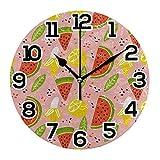 Reloj de Pared Rebanadas de sandía Limón Plátano Hojas Verdes Reloj de acrílico Redondo Rosa Números Grandes Negros Reloj silencioso sin tictac Reloj Decorativo con Pilas para la Biblioteca del Hotel