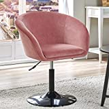Duhome Modern Velvet Accent Chair Vanity Chair Makeup Chair Desk Chair Round Swivel Tufted Adjustable Pink 1 pcs