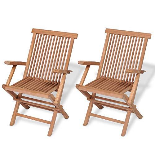 Lahomia - Juego de sillas de jardín plegables de madera para exteriores, sillas de jardín plegables 2 unidades de madera maciza de teca 55 x 60 x 89 cm (largo x ancho x alto)