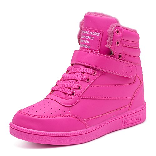 BAINASIQI BAINASIQI Damen Sneakers High Top Sportschuhe Wedges Keilabsatz Schuhe Laufschuhe Atmungsaktive Freizeitschuhe Turnschuhe (EU 35, Rose Rot-02)