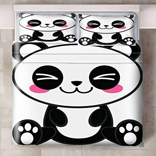 Juego De Ropa De Cama De 3 Piezas, Ababilart Dibujos Animados Animal Panda 240X200 Cm Microfibra Suave Transpirable Juego De Fundas Edredón Con 1 Funda Nórdica + 2 Funda De Almohada Suave Y Confortabl