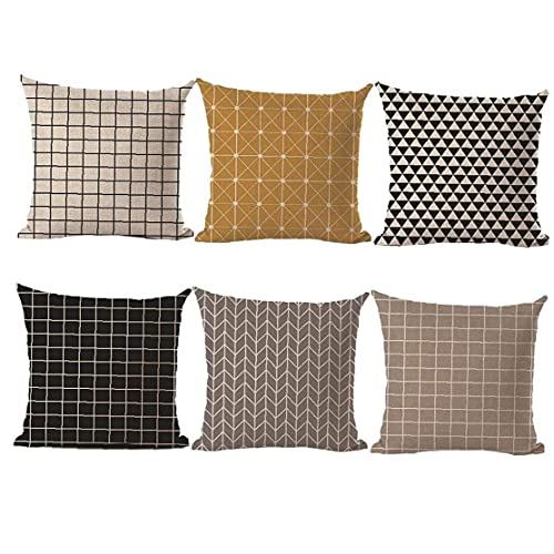 45x45 Cm Flax Material Square Shape örngott Textural Linne Square dekoration Vit Svart geometriska linjer Konstmotiv Cotton Linen Heminredning 6PCS