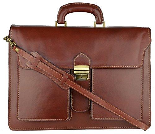 Bags4Less Unisex-Erwachsene Pisa Aktentasche Laptop Tasche, Braun (Mahagoni-Braun), 14x30x40 cm