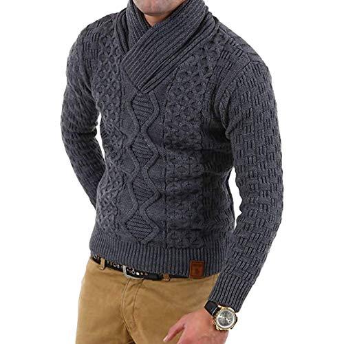 Suéter de Cuello Cruzado para Hombre, Tejido Trenzado a la Moda, Jacquard de Color Liso, Jersey cálido, Jersey de Tendencia de Personalidad Medium