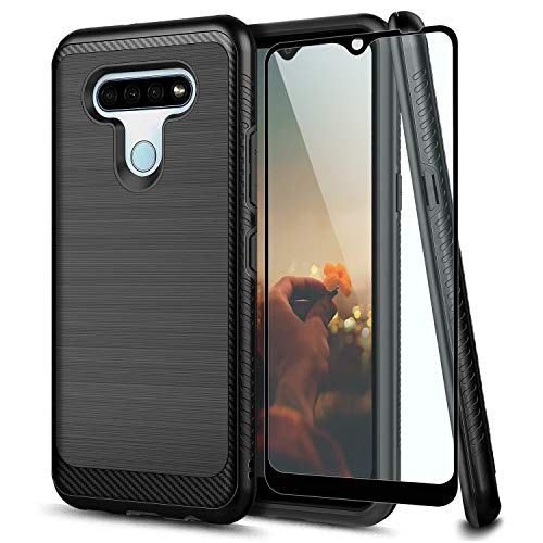 TJS Phone Case Compatible with LG K51, LG Q51, LG Reflect, with [Tempered Glass Screen Protector] Hybrid Shockproof Metallic Brush Finish Hard Inner Layer Protector (Black)