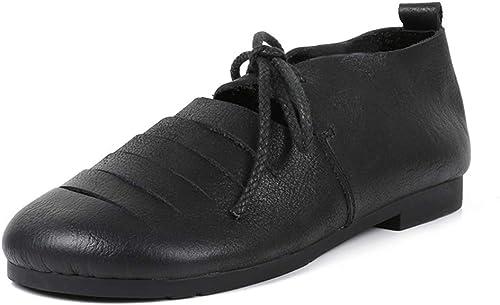 YAN Chaussures Femme Printemps été Oxford Plat Lacets Chaussures rétro Chaussures de Marche Décontracté Chaussures de randonnée Brun Noir,noir,36