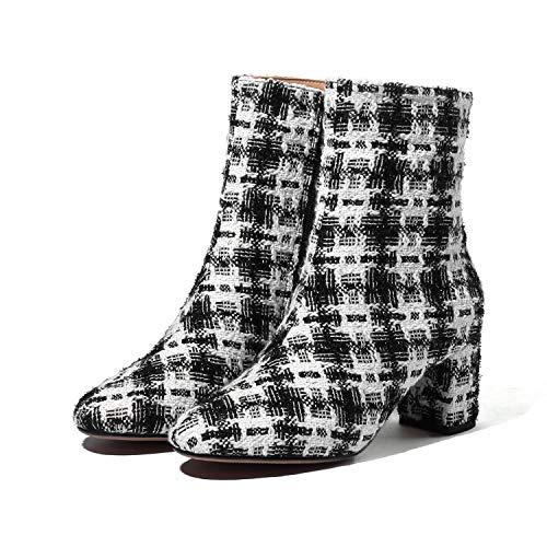 YAN Damen Stiefeletten, Damenmode Gitter Stiefel Seitlichem Reißverschluss Blockabsatz Stiefel...