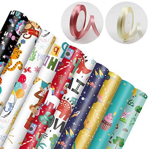 Geschenkpapier, 10 Stück Geschenkpapier Kinder Geburtstag und 2 Rolle Band, Geschenkverpackung Papier für Weihnachten,Geburtstag, Kindertag, Muttertag, Party, Valentinstag, (70X50 CM)
