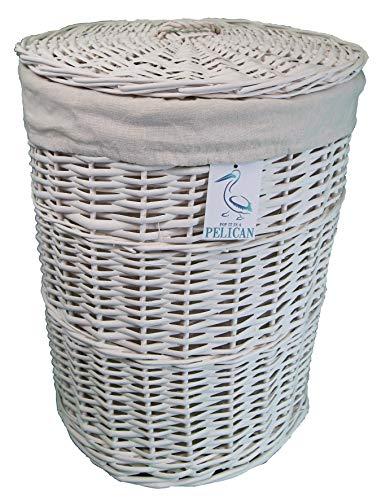 Cestas de mimbre de sauce para la colada y la colada, color gris y blanco, forro lavable extraíble, solución de almacenamiento natural, ropa de baño o dormitorio (blanco, redondo, 70 l)
