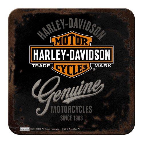 Nostalgic-Art 46101 Harley-Davidson - Genuine | Retro Metall-Untersetzer | Tassen-Untersetzer | mit Kork-Unterseite