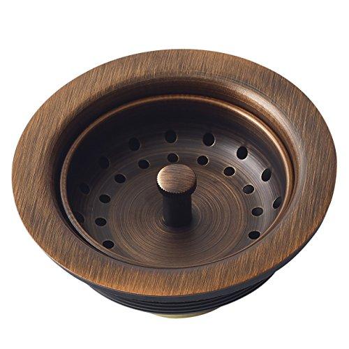 Sinkology Kitchen Sink Basket Strainer Drain TB35-01,Antique Copper