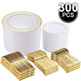 300 Pieces Gold Plastic Plates with Disposable Silverware, 60 Guests Tableware Setinclude: 60…