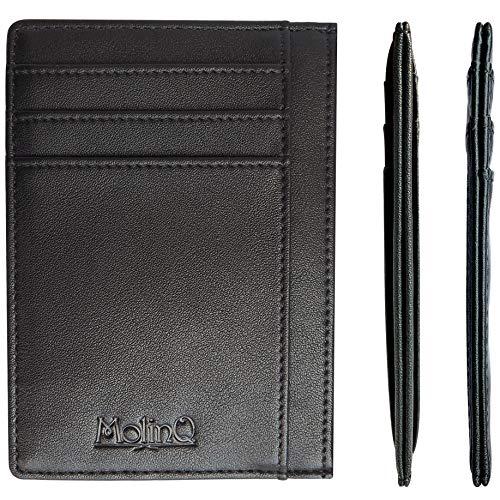Portemonnee met ID-venster en vakje voor bankbiljetten - Zeer Platte Pasjeshouder voor Dames en Heren -Anti Skim- Zwart