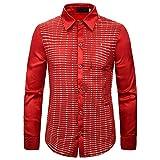 Hombre 70 Retro Night Club Lentejuela Camisa Disco Shiny Slim Fit para Fiesta Boda Noche Club Disfraz Rojo XS