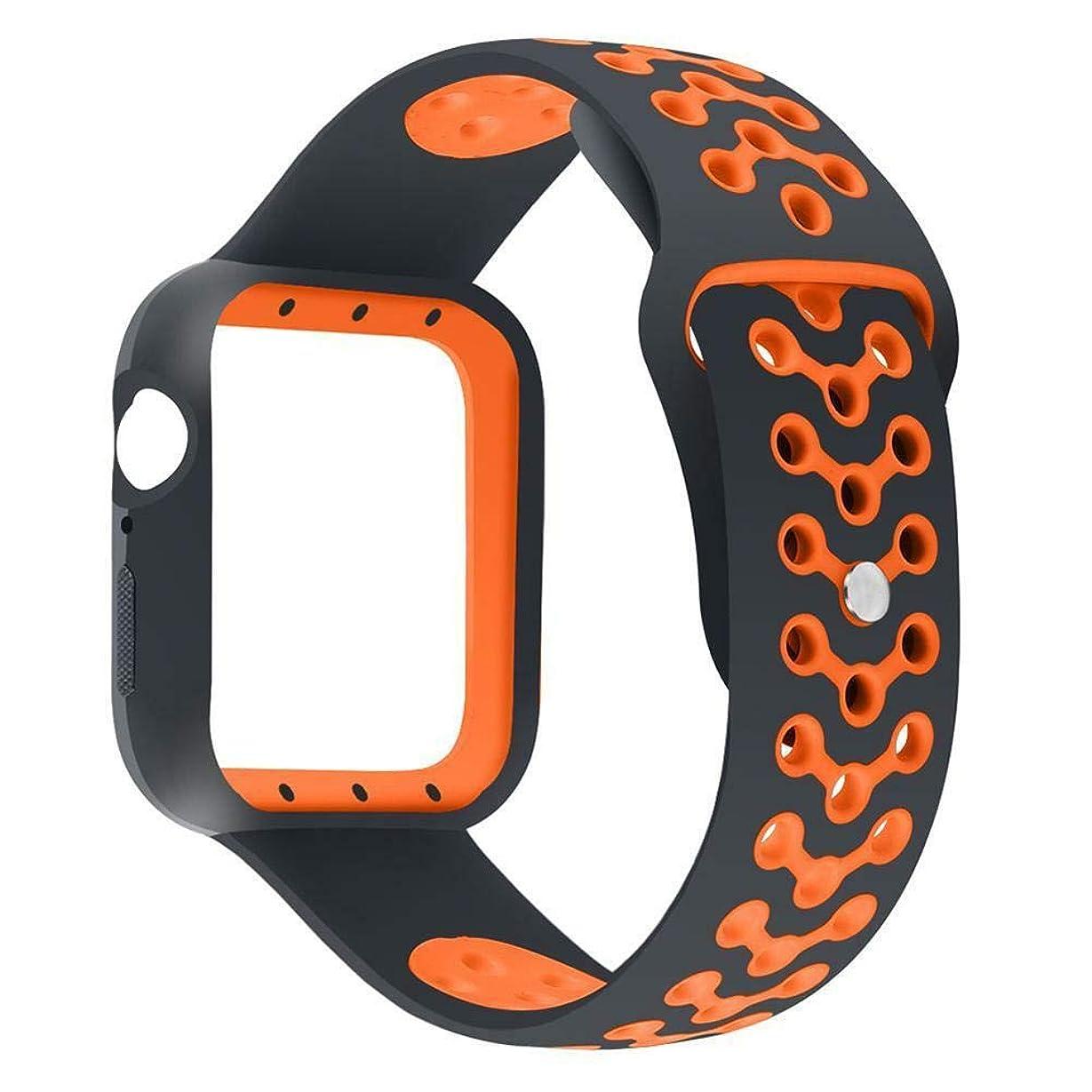 同盟通り抜けるひらめきFidgetGear Apple Watch Series 4 40 / 44mm用ソフトシリコンウォッチストラップ交換バンドベルト オレンジ44mm