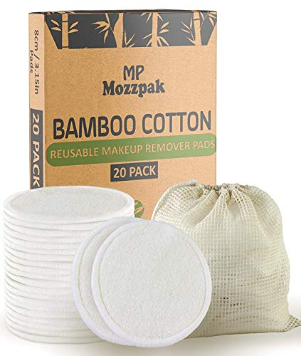 MP Mozzpak (20 Pack) Reusable Makeup Remover Pads   Bamboo Cotton Rounds for Toner with Laundry Bag   Washable, Eco-friendly Face Cleansing Wipes and Organic Pad for All Skin Types