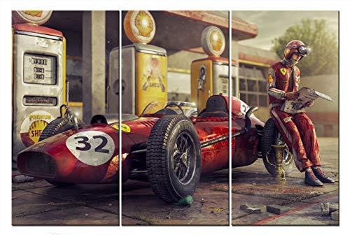 Bild auf Leinwand Auto Formel 1 Bolid F1 Ferrari Wandbild Rennwagen Rennen Automobil Bilder Dekoration Sportwagen Kunstdruck Grafik 3 x 80cm x 40cm