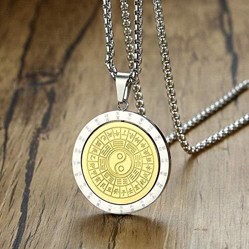 NC110 Colgante Giratorio Hombres Collar taoísmo Tai Chi Yi Yang símbolo chisme Amuleto Rezar Suerte Accesorios Masculinos YUAHJIGE