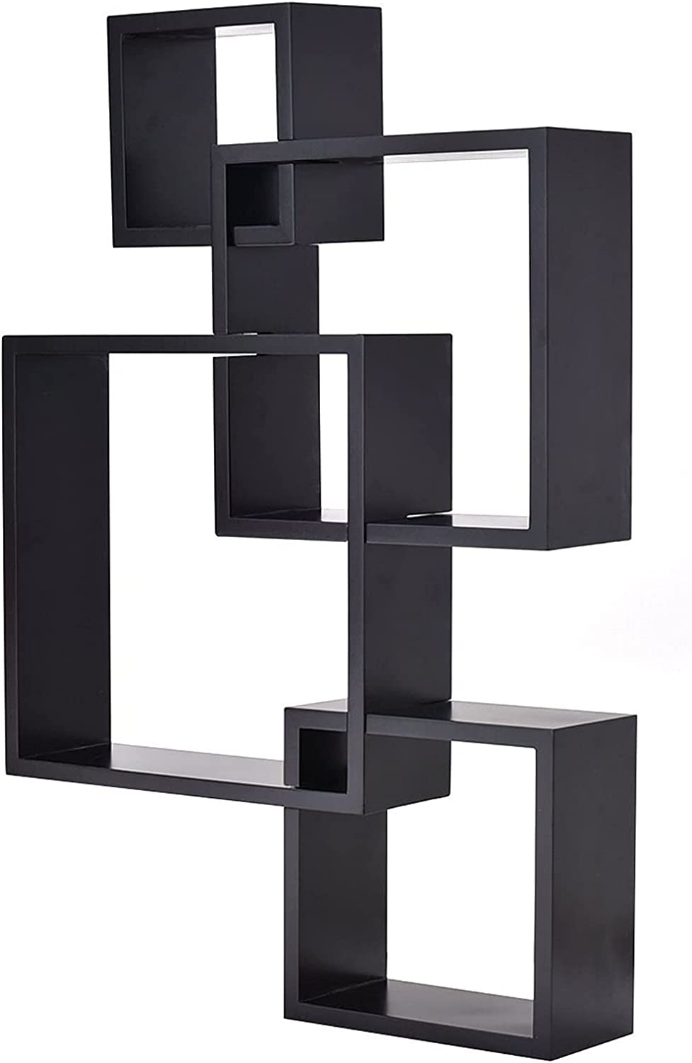 HYZX Black Intersecting Squares Floating Popularity Shelf Mounted Max 60% OFF Furn Wall