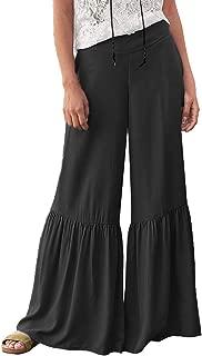 Leggings For Women Plus Size Sexy loose High Waist Solid Sleep Pants Ruffle Wide leg Beach Pants By Sagton (Black,XL)