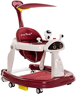 Foldable Baby Walker, 3 in 1 Musical Walker, Learning-Seated, Walk-Behind, Music, Adjustable Height, High Back Padded Sea...