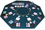 Mesa de póquer plegable Mesa de póquer de 120 x 120 cm para 8 personas Mesa de póquer de madera cubierta con alfombra de póquer de fieltro impresa